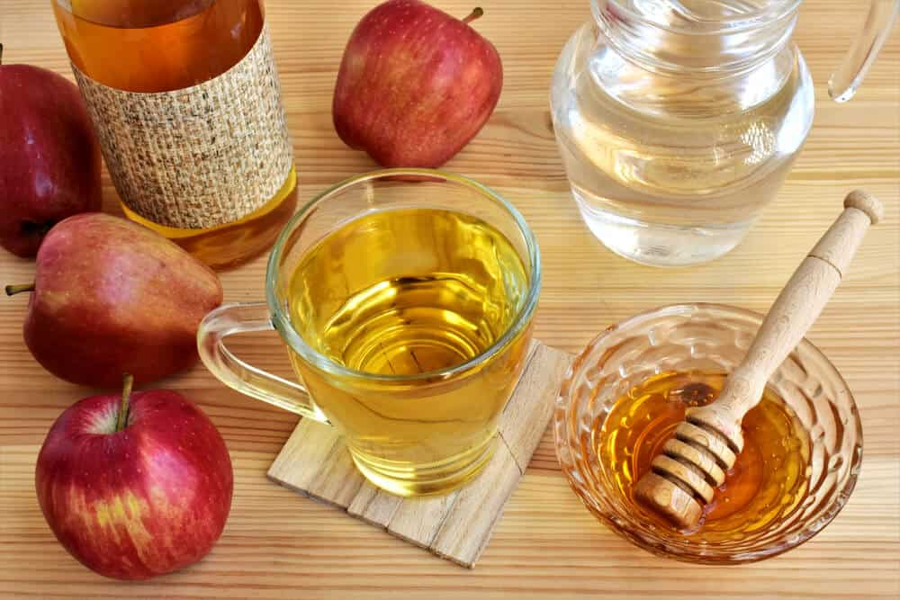 Apple cider vinegar and honey and water, digestive tonic.