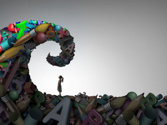 A 3D illustration of a girl looking at a wave of schoolwork; is ADHD a disability concept art.