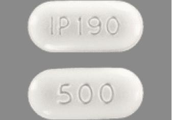 Naproxen IP 190 500 Pill Imprint white oval
